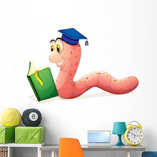 Worm Reading Wearing Graduation Wall Decal by Wallmonkeys Peel and Stick Graphic (60 in W x 42 in H) WM133516