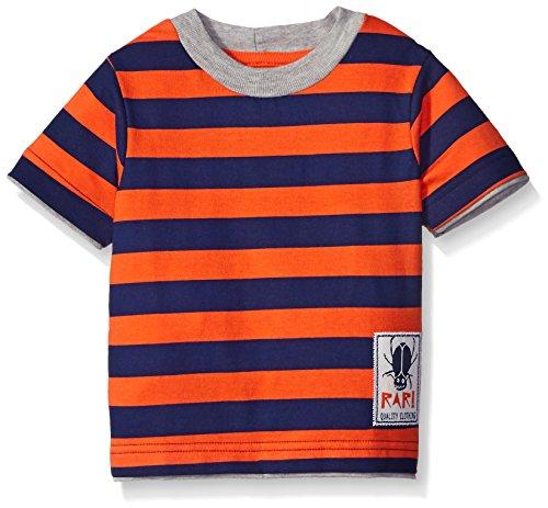Gerber Graduates Boys Striped Short Sleeve T-Shirt, Orange/Navy, 18 Months