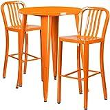 Winston Direct's Leisure Series 30'' Round Bar Height Table Set with 2 Vertical Slat Back Barstools - Orange Patio Set Powder Coat Finish