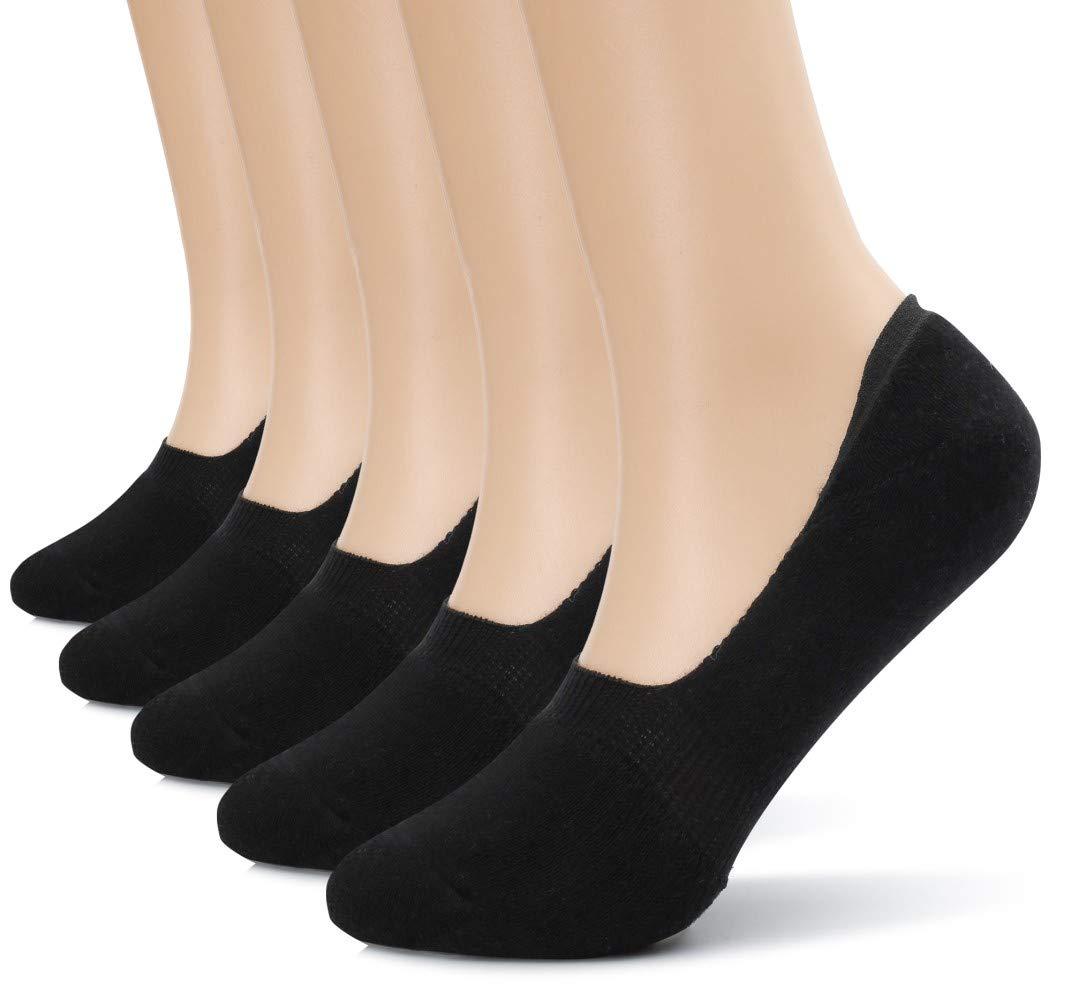 Eleray 5-Pack Women's Thick Cushion Cotton Casual Low Cut Falt Non-Slip No Show Liner Socks (Black)