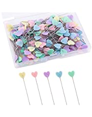 LUTER 200pcs Flat Love Head Pins with a Storage Box Assorted Colors Decorative Pins for Dressmaker Craft Sewing Projects