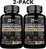 [2-Pack] Pure Organic Ashwagandha Capsules (180 Capsules   1800mg) 100% Pure Ashwagandha Organic
