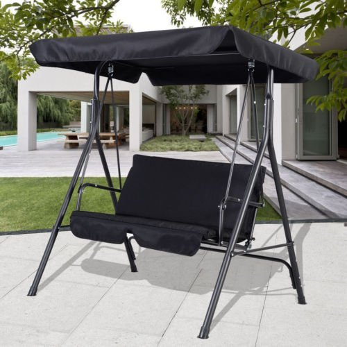 Black Outdoor Patio Swing Canopy Awning Yard Furniture Hammock Steel 2  Person