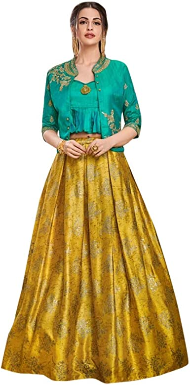 Ladies Indian Bollywood Sequin /& Floral Print Long Crinkle Skirt Yellow