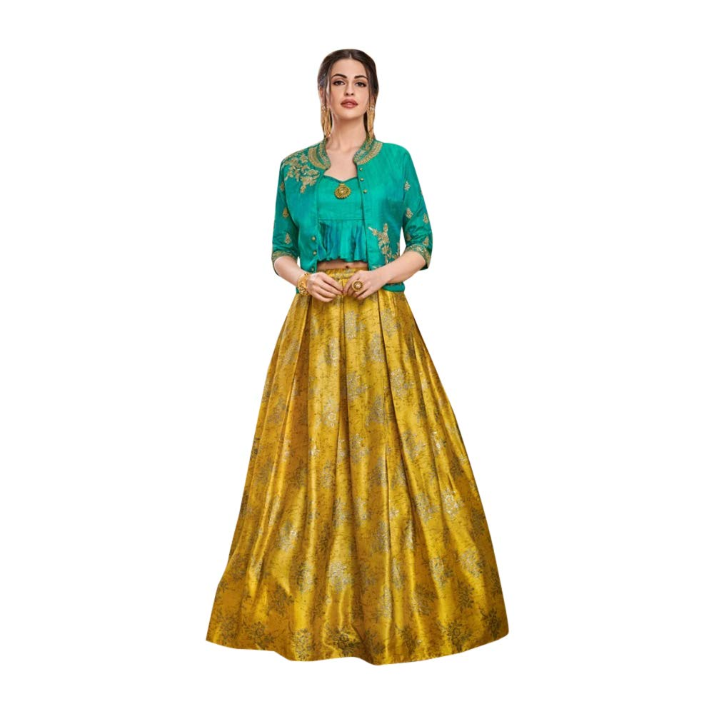 Designer Evening Cocktail wear Satin Silk Jacket Style Crop top with Skirt Indian Women Dress 7622