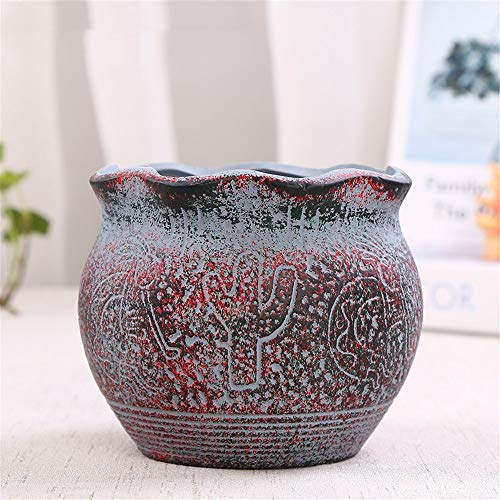 - Red Cactus Round Pottery Handmade Potted Green Plant Geometry Mini Fleshy Flower Pot, Pot Cactus Plant Pot Colorful Indoor Outdoor Garden Balcony Barrel Container Seeder
