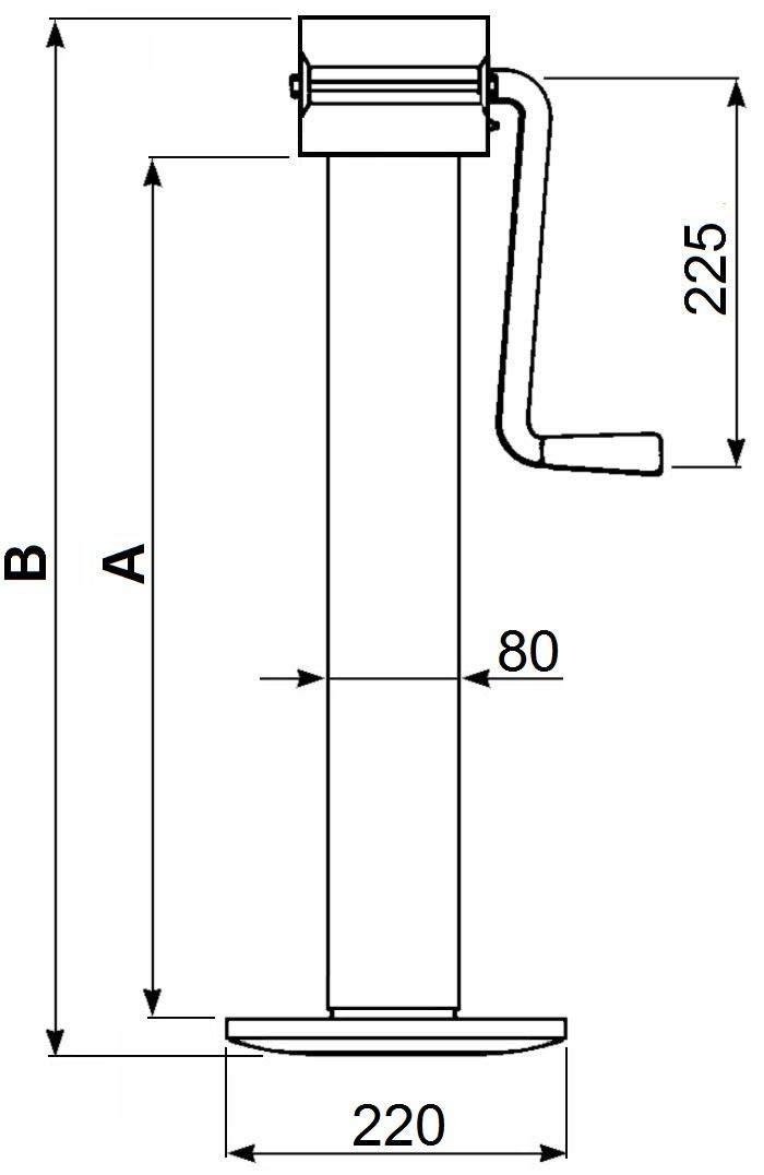 AMA B/équille cric Courte /à Deux Vitesses 80x80 mm 4000 Kg