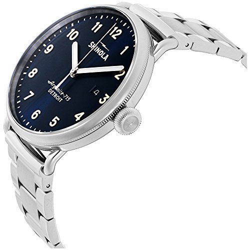 Shinola Men's The Canfield 43mm Watch, Midnight Blue/Stainless, One Size