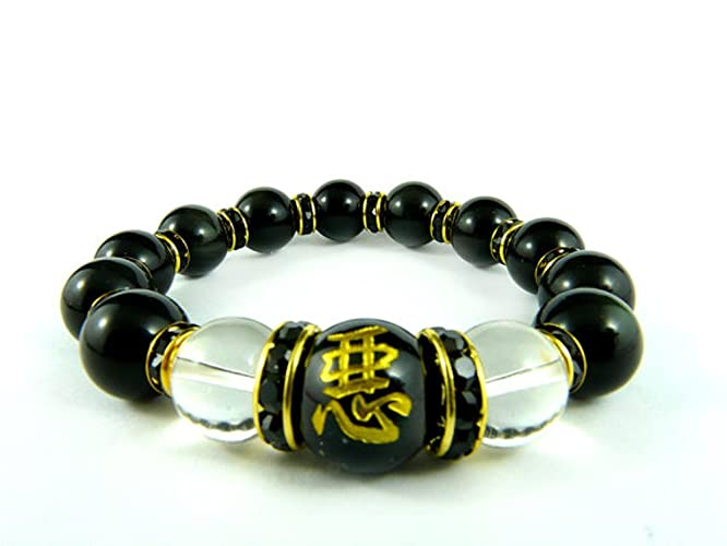 Amazon Mens Beaded Bracelet Japanese Kanji Bracelet Black