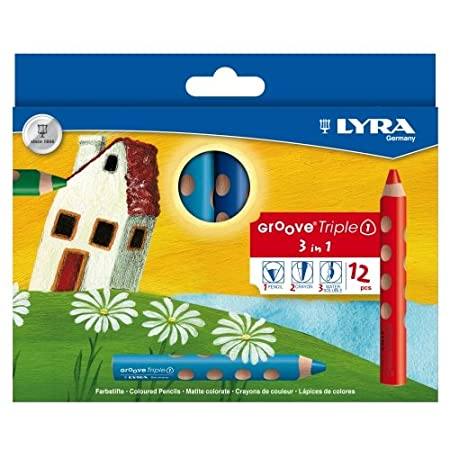 Lyra Groove Triple 1, 12 Stk., Aquarellstift, Farbstift, Wachsmalkreide 3 in 1
