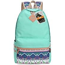 Leaper Causal Style Lightweight Canvas Cute Backpacks School Backpack Large Water Blue+Deer