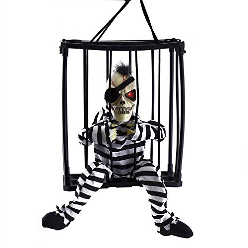 [Adorox Motion Sensor Hanging Caged Animated Mohawk Eye Patch Jail Prisoner Skeleton Halloween Terror Decoration Flashing Light up Prop] (Hanging Halloween Props)