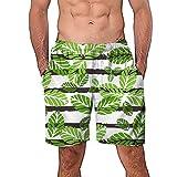 NUWFOR Men Casual 3D Graffiti Printed Beach Work Casual Men Short Trouser Shorts Pants(Green,US M Waist:29.1-33.1'')