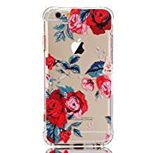iPhone 6 Plus Case,iPhone 6S Plus Case with flowers, LUOLNH Slim Shockproof Clear Floral Pattern Soft Flexible TPU Back Cover [5.5 inch] -Red Rose