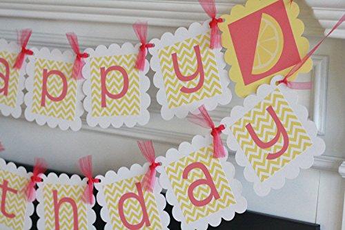 Happy Birthday Hot Pink and Yellow Lemon Lemonade Stand Bann