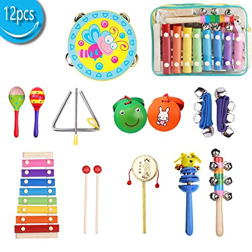 Kids Musical Instruments Xylophone Percussion Toy Set Preschool Educational Early Learning Rhythm Tools for Boys and Girls Baby With Carrying Bag 12pcs by wusheng