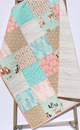 Baby Girl Quilt Arrows Pastel Shabby Chic Crib Bedding Nursery Coral Pink Blue Gold Mint, Woodland Forest Lace