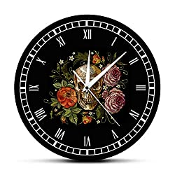 Zdtxkj Tattooed Skull Roses Wall Clock Death Evil Kill Killer Tattoo Human Bodypart Skeleton Bone Vintage Decorative Clock Wall Watch