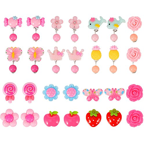 TOODOO 14 Pairs Clip-on Earrings Girls Play Earrings for Party Favor, All Packed in 2 Clear Boxes (Style 1)