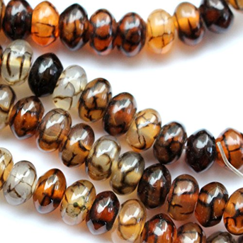 Natural dragon vein agate rondelle Gemstone Jewelry Making Loose Beads (58mm)