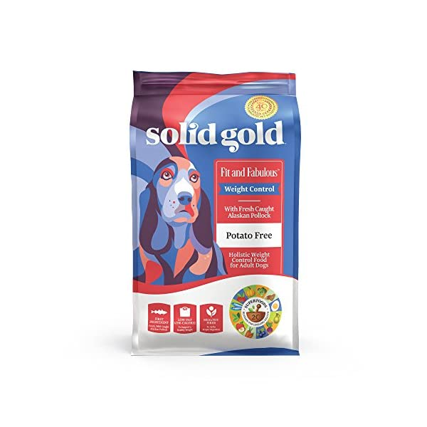 Solid Gold – Fit & Fabulous – Potato-Free Fresh Caught Wild Alaskan Pollock – Holistic Weight Control Adult Dry Dog Food – 24 lb Bag