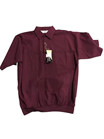 0a34f8fa4a5 Amazon.com  Tall Man s Two Pocket Banded Bottom Short Sleeve Shirt Textured  Stripe 6030  Clothing