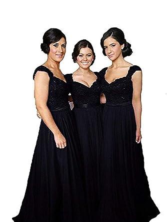 bd760d614128c FeiYueXinXing Long Chiffon Bridesmaid Dresses Evening Formal Dress Party  Ball Gown Prom (Black-2