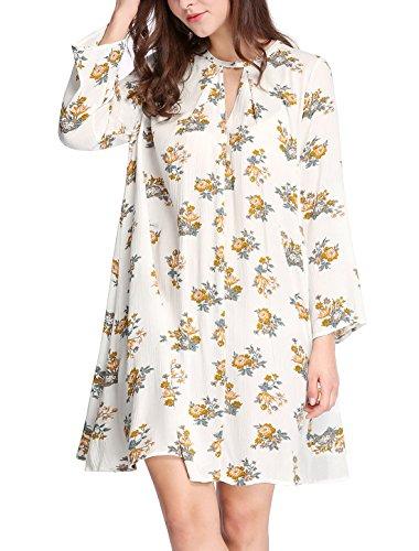 Allegra K Avant Trou De Serrure Surdimensionné Au-dessus Du Genou Boho Femmes Robe Swing Floral Blanc