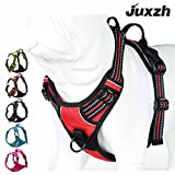 JUXZH Soft Front Range Dog Harness .3M Reflective No Pull Harness with handle and Two Leash Attachments