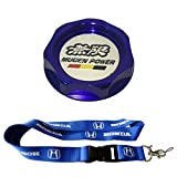 New 1pcs Honda Keychain Lanyard Badge Holder + Blue Mugen Racing Oil Filler Cap Fuel Tank Cover Aluminum