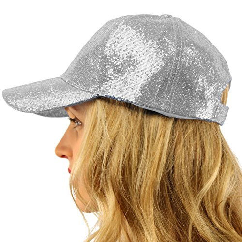 Everyday Glitter Dance Party Bling Liquid Baseball Sun Visor Ball Cap Hat Silver -