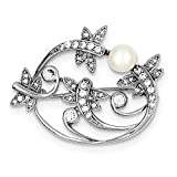 Sterling Silver Rhodium-plated Simulated Pearl and CZ Pin