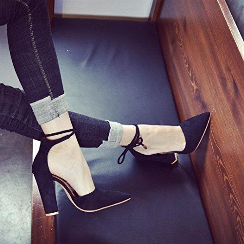 Carrés Talons Escarpins High Heels Sexy Femme Hauts Chaussures Pointu Sandales OverDose Noir Bout à wA1Yv4qI