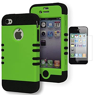 For iPhone 4 Case, Bastex Heavy Duty Hybrid Case - Soft Black Silicone Cover with Neon Green Hard Case for Apple iPhone 4, 4s, 4gs**INCLUDES SCREEN PROTECTOR** by Bastex