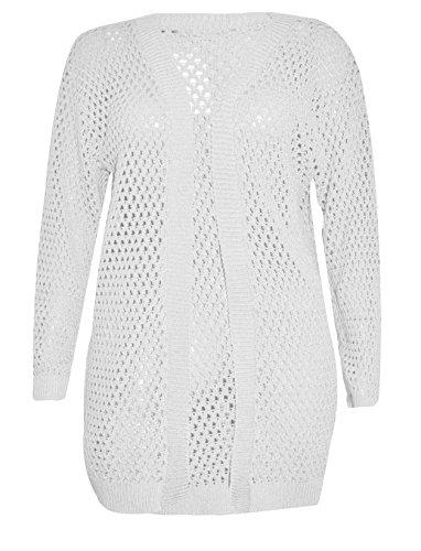 S Longues Fantaisie Crochet Femmes Fashions Jumper 3XL Tricot Islander Manches Holey white Cardigan Dames Knit qS7tx1