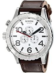 Nixon Mens A1241113 51-30 Chrono Stainless Steel Watch with Leather Band