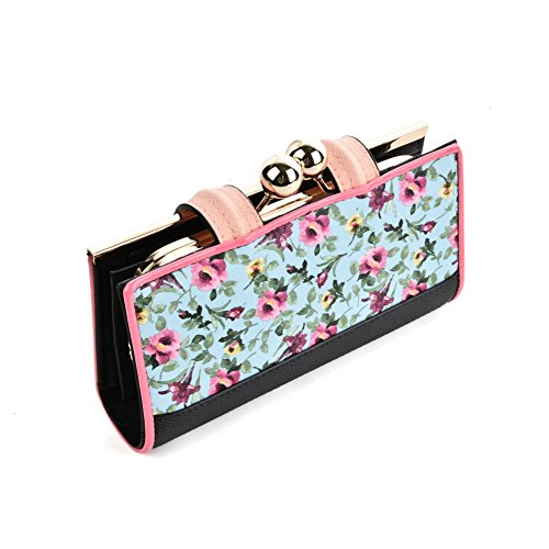 Card Holder Wallets Butterfly Buckle Young Blue Sally Floral Lady Women Gifts Bag Retro Light Pattern Purses zxvPY1