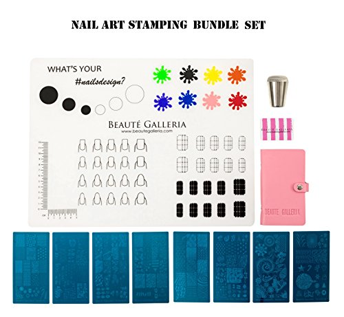 (Beaute Galleria Bundle Nail Art Stamping Set - 8 Styles of Stamping Plates with Plate Holder, Silicone Nail Mat, Nail Stamper, Plate Scraper and Instruction Card)