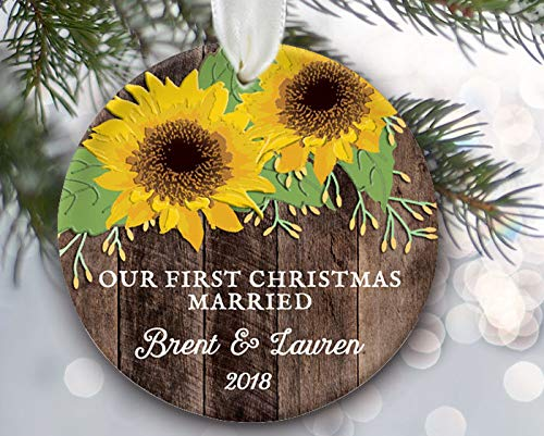 rfy9u7 Personalized First Christmas Married Ornament, Sunflower Ornament, Sunflower Gift, Together Ornament, Engaged Ornament Faux/Fake Wood