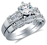 14K White Gold Cubic Zirconia Engagement Ring with Matching Wedding Band (2.0cttw. , 1.0Ct. Center Stone)