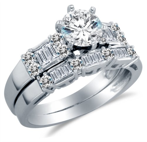 Size 7.5 - Solid 14K White Gold Round Brilliant Cut Solitaire Center with Baguette Side Stones Highest Quality CZ Cubic Zirconia Engagement Ring with Matching Wedding Band Bridal Two Ring Sets (2.0cttw. , 1.0ct. Center Stone) - Available in all ring sizes 4 - 13 - Channel Set Baguette Side Stones