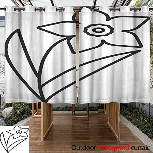 RenteriaDecor Outdoor Curtains for Patio Sheer Narcissus jonquil icon W84 x L72