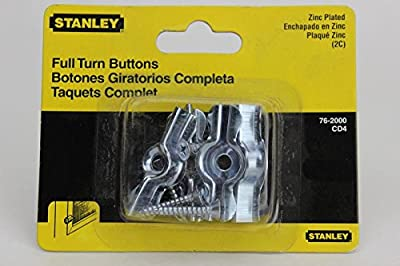 """Stanley Hardware 762000 1-3/4"""" Zinc Full Turn Button 4 Count"""