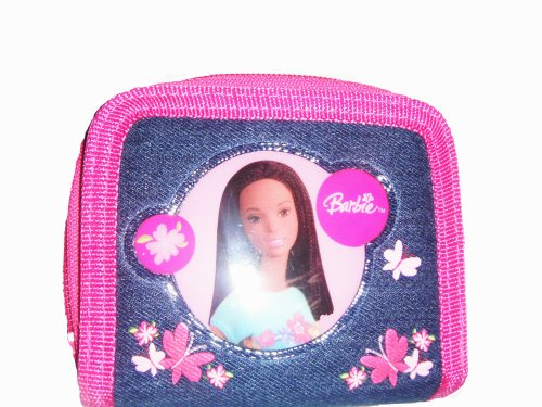 Barbie Two Fold Denim Pink Wallet with Coin Zipper and Butte