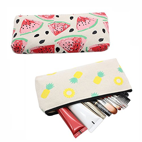 Lovely Fruit Canvas Pencil Bag Holder Pen Case Stationery Makeup Cosmetic Pouch Bag with Zipper (Set of 2, Pineapple & Watermelon) Lovely Coin Bag