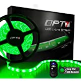 OPT7® Automotive LED Light Strip - 300-Advanced Bright SMDs - 20 LED Strips - Green w/ Remote