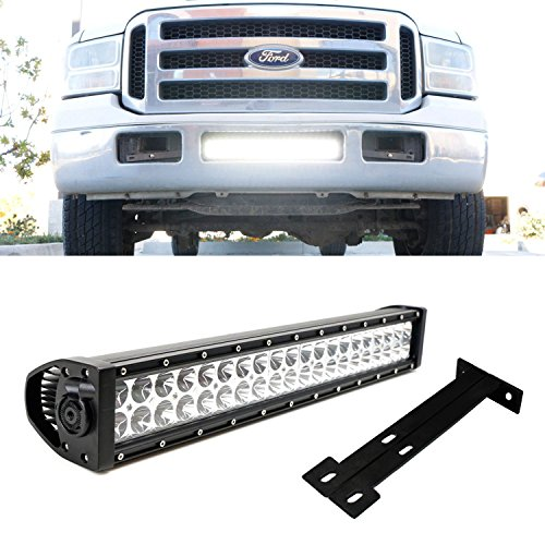 "iJDMTOY 20"" 120W High Power LED Light Bar w/ Lower Bumper Grille Mounting Brackets & Relay Wiring On/Off Switch For 1999-2007 Ford F-250 F-350 Super Duty"