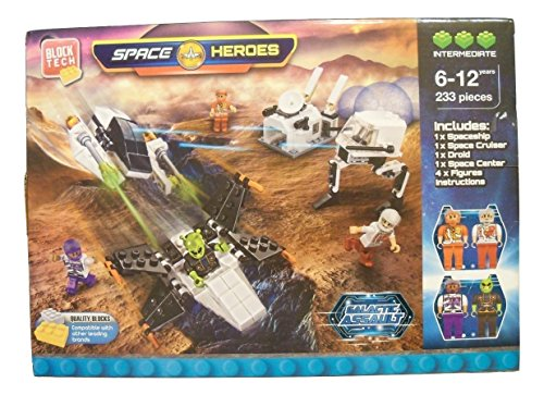 Space Heroes Galactic Assault 233 Piece Building Set ~ Intermediate Level (Builds Spaceship, Space Cruiser, Droid, Space Center, 4 Figures; Compatible with Other Leading Brands; Ages 6-12) (Galactic Heroes Ships)