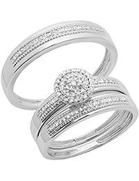 0.27 Carat (ctw) 14K Gold Round Cut Diamond Men & Women's Cluster Engagement Ring Trio Bridal Set 1/4 CT