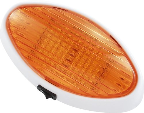 (Gold Stars F3528007 Cool White RV LED Oval Porch Light (Fixture w/Clear Amber Lens ON/OFF Switch 110 or 170)